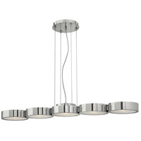 Fredrick Ramond FR41435PAL Broadway 5 Light 41 inch Polished Aluminum Linear Chandelier Ceiling Light