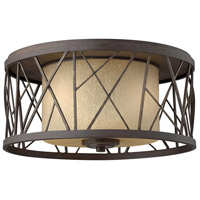 Nest 2 Light 17 inch Oil Rubbed Bronze Foyer Flush Mount Ceiling Light in Distressed Amber Etched