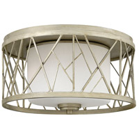 Nest 2 Light 17 inch Silver Leaf Foyer Flush Mount Ceiling Light in White Scavo