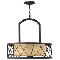 Nest 3 Light 24 inch Oil Rubbed Bronze Chandelier Ceiling Light in Distressed Amber Etched, Single Tier