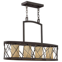 Nest 4 Light 32 inch Oil Rubbed Bronze Linear Chandelier Ceiling Light in Distressed Amber Etched