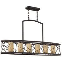 Nest 6 Light 48 inch Oil Rubbed Bronze Linear Chandelier Ceiling Light in Distressed Amber Etched, Downlight