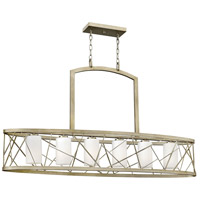 Fredrick Ramond FR41616SLF Nest 6 Light 48 inch Silver Leaf Linear Chandelier Ceiling Light in White Scavo, Downlight