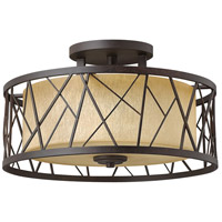 Nest 3 Light 20 inch Oil Rubbed Bronze Semi Flush Ceiling Light in Distressed Amber Etched