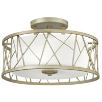 Nest 3 Light 20 inch Silver Leaf Foyer Semi-Flush Mount Ceiling Light in White Scavo