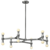 Karma 12 Light 30 inch Polished Aluminum Chandelier Ceiling Light in Poilished Aluminum
