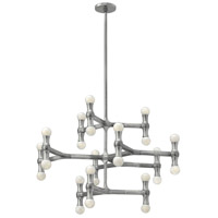 Karma 24 Light 30 inch Polished Aluminum Foyer Chandelier Ceiling Light in Poilished Aluminum, Three Tier