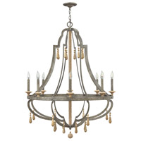 Cordoba 8 Light 36 inch Distressed Iron Chandelier Ceiling Light, Single Tier