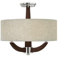 Cameron 3 Light 18 inch Polished Chrome Semi Flush Ceiling Light