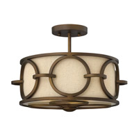 Pandora 3 Light 14 inch Brushed Cinnamon Semi Flush Ceiling Light