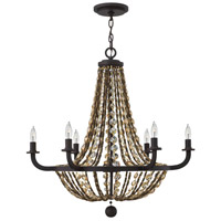 Hamlet 6 Light 28 inch Vintage Bronze Chandelier Ceiling Light, Single Tier