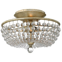 Caspia 2 Light 16 inch Silver Leaf Semi Flush Ceiling Light