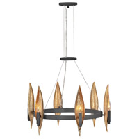 Fredrick Ramond FR44006CBK Willow 6 Light 24 inch Carbon Black/Deluxe Gold Chandelier Ceiling Light