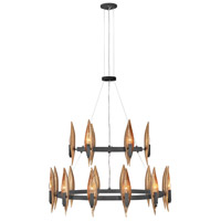 Fredrick Ramond FR44009CBK Willow 18 Light 36 inch Carbon Black/Deluxe Gold Chandelier Ceiling Light