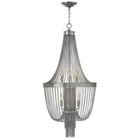 Regis 6 Light 20 inch Brushed Nickel Foyer Ceiling Light, Two Tier