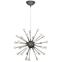 Impulse LED 24 inch Black Chrome Chandelier Ceiling Light, Single Tier