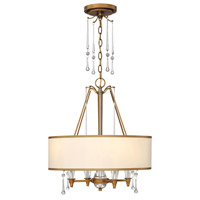 Bentley 4 Light 20 inch Brushed Bronze Chandelier Ceiling Light in Off-White Cinnamon Trimmed