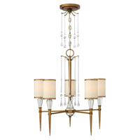 Bentley 5 Light 24 inch Brushed Bronze Chandelier Ceiling Light in Off-White Cinnamon Trimmed