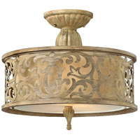 Carabel 2 Light 15 inch Brushed Champagne Semi Flush Mount Ceiling Light