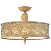 Carabel 3 Light 21 inch Brushed Champagne Semi Flush Ceiling Light