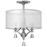 Mime 3 Light 18 inch Brushed Nickel Semi Flush Ceiling Light in Sheer Hardback