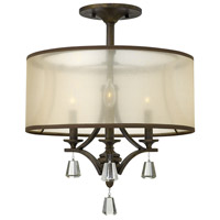 Mime 3 Light 18 inch French Bronze Foyer Semi-Flush Mount Ceiling Light in Translucent Amber