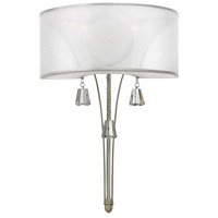 Mime 2 Light 14 inch Brushed Nickel Sconce Wall Light in Sheer Hardback