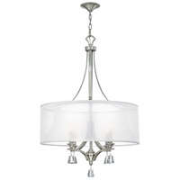 Mime 4 Light 25 inch Brushed Nickel Chandelier Ceiling Light in Sheer Hardback, Single Tier
