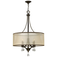 Mime 4 Light 25 inch French Bronze Chandelier Ceiling Light in Translucent Amber, Single Tier