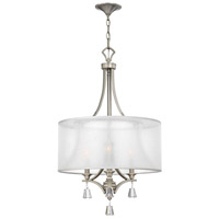 Mime 3 Light 19 inch Brushed Nickel Chandelier Ceiling Light in Sheer Hardback