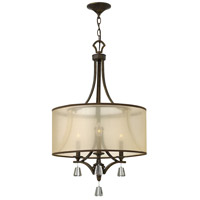 Mime 3 Light 19 inch French Bronze Chandelier Ceiling Light in Translucent Amber, Single Tier