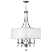 Mime 6 Light 30 inch Brushed Nickel Foyer Ceiling Light in Sheer Hardback, Single Tier