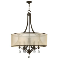 Mime 6 Light 30 inch French Bronze Foyer Ceiling Light in Translucent Amber, Single Tier