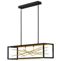 Fredrick Ramond FR46406BLK Styx LED 45 inch Black with Gilded Gold Linear Chandelier Ceiling Light