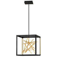 Fredrick Ramond FR46407BLK Styx LED 20 inch Black with Gilded Gold Pendant Ceiling Light