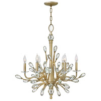 Eve 6 Light 26 inch Champagne Gold Chandelier Ceiling Light, Single Tier