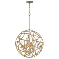 Eve 6 Light 24 inch Champagne Gold Chandelier Ceiling Light, Single Tier