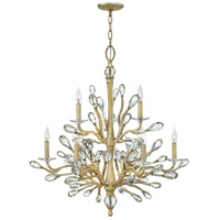 Eve 9 Light 34 inch Champagne Gold Chandelier Ceiling Light, Two Tier