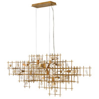 Petra 10 Light 40 inch Luster Gold Linear Chandelier Ceiling Light