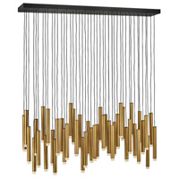 Fredrick Ramond FR49909HBR Harmony LED 48 inch Heritage Brass with Black Linear Chandelier Ceiling Light