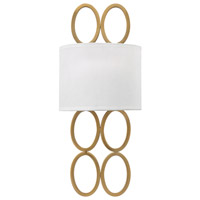 Fredrick Ramond Jules 2 Light Sconce in Brushed Gold with White Linen Shade FR35600BRG
