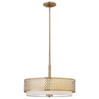 Fredrick Ramond Jules 3 Light Chandelier in Brushed Gold with White Linen Shade and Etched Lens FR35603BRG