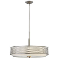 Fredrick Ramond Jules 3 Light Chandelier in Brushed Nickel with White Linen Shade and Etched Lens FR35604BNI