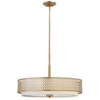 Fredrick Ramond Jules 3 Light Chandelier in Brushed Gold with White Linen Shade and Etched Lens FR35604BRG