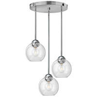 Fredrick Ramond Vivo 3 Light Pendant in Polished Chrome with Clear Glass FR37512PCM