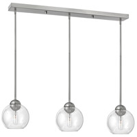 Fredrick Ramond Vivo 3 Light Pendant in Brushed Nickel with Clear Glass FR37513BNI