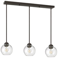 Fredrick Ramond Vivo 3 Light Pendant in Vintage Bronze with Clear Glass FR37513VBZ