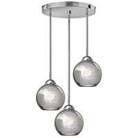 Fredrick Ramond Vivo 3 Light Pendant in Polished Chrome with Faux Mercury Glass FR37514PCM