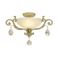 Barcelona 3 Light 24 inch Silver Leaf Semi Flush Ceiling Light in Natural Alabaster