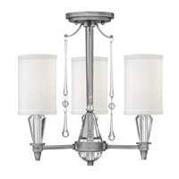 Fredrick Ramond Bentley 3 Light Semi Flush in Antique Nickel with White Linen Shade FR44501ANI
